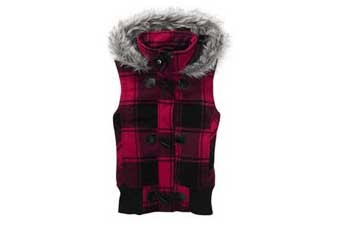 Fuschia plaid hooded vest, $20, WalMart.com