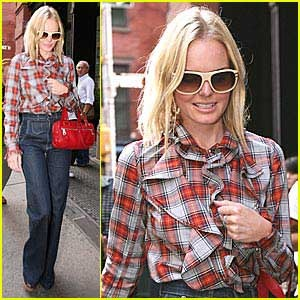 Kate Bosworth pairs her plaid with high waisted jeans