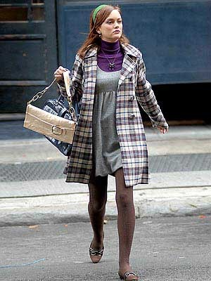 Blair Waldorf buttoned up in a plaid coat