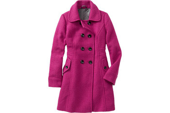 Pink double-breasted wool blend coat, $89.50, OldNavy.com