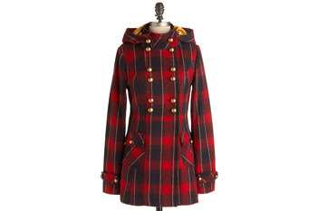 Red Plaid of Courage coat, $92.99, ModCloth.com