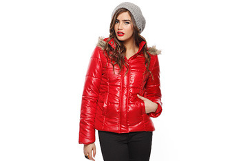 Puffy jacket with fur trim hood, $24.80, Forever21.com