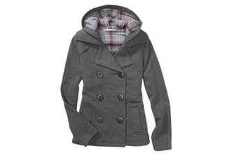 Fleece hooded peacoat, $20, WalMart.com