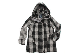 Plaid coat with hood, $50, Blnts.com