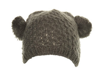 Grey pom pom ear hat, MissSelfridge.com, $18
