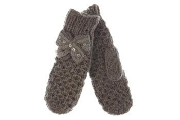 Grey knitted bow mittens, MissSelfridge.com, $14