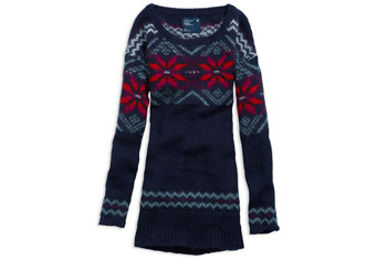 Light and lofty fair isle long sweater, $54.95, at American Eagle