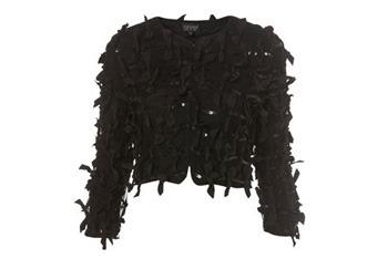 Grosgrain bow and sequin crop jacket, $65, Topshop.com