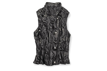 Miley Cyrus and Max Azria Faux leather motorcycle vest, $14, Walmart.com