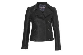 Leather look biker jacket, $30, NewLook.com