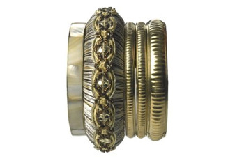 Ornate gold bangle stack, $14, at NewLook.com