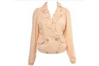 Miss Selfridge Nude Ruched Collar Jacket $70