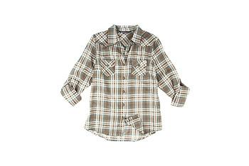 Bluenotes plaid boyfriend shirt, $19.50