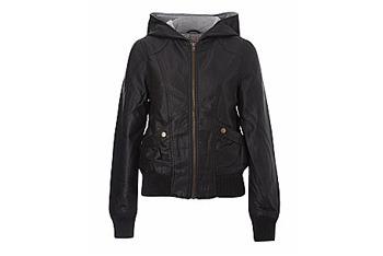 New Look leatherette hooded jacket, $40