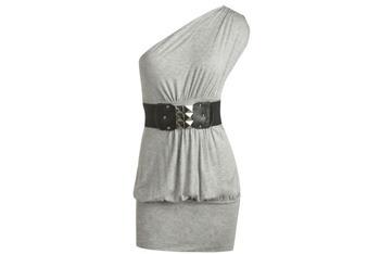 One shoulder belted grey dress from Wet Seal, $23