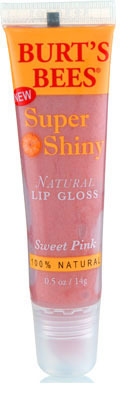 "Burt's Bees Super Shiny Natural lipgloss in ""Sweet Pink"", $6.99"