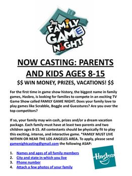 Hasbro Family Game Night Casting Call