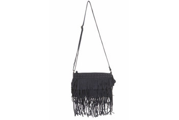 Blue suede tassel bag from Miss Selfridge, $40