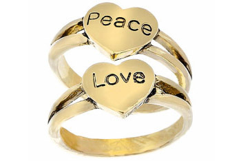 Love and Peace heart rings from Topshop, $7