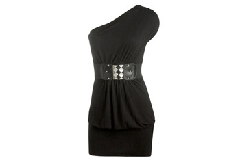 One shoulder belted dress from WetSeal.com, $21.50
