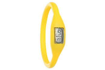 Yellow rubber watch from HotTopic.com, $4.99