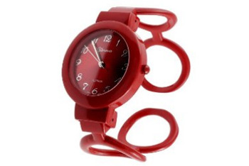Geneva platinum polished circle cuff watch in red from Target.com, $19.99