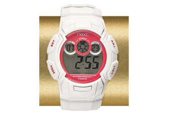 White and pink NX sports watch from Next.co.uk, $30