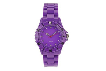 Brightly colored enamel watch in purple from UrbanOutfitters.com, $24