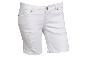 Distressed denim shorts in white from Forever21.com, $19.80