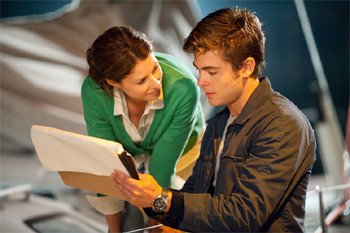 Amanda and Zac on the set of Charlie St. Cloud