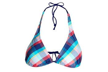 Plaid halter bikini top in medium blue from GarageClothing.com, $9