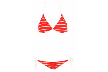 Rope detail triangle bikini in red from Topshop.com, $50