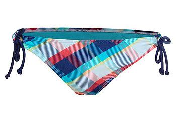Plaid keyhole bikini bottom in medium blue from GarageClothing.com, $9