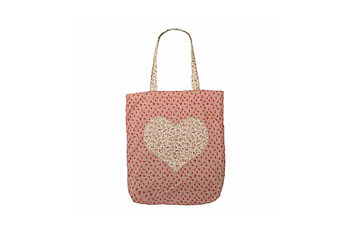 Printed heart shopper tote in pink from NewLook.com, $10