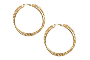 Weave hoop earrings from WetSeal.com, $6
