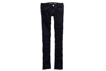 Deep indigo skinny jeans from AmericanEagle.com, $24