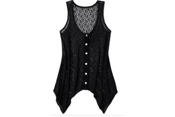 Sheer Lace button down tank from WalMart.com, $7