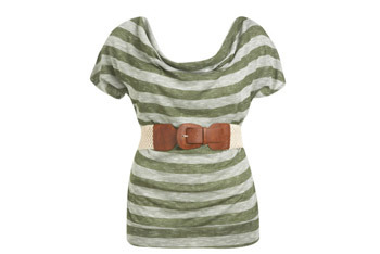 Stripe contrast belted top from WetSeal.com, $24