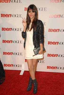 White dress and ankle boots at Teen Vogue