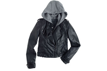 Jaclyn Moto jacket with removable hood from Delias.com, $79.50