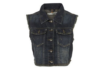 Dark wash denim gilet vest from Topshop.com, $60
