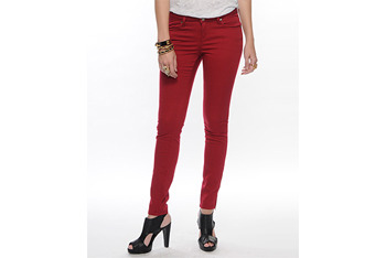 Fab zipper ankle jeans in red from Forever21.com, $14.50
