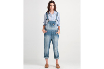 Distressed denim overalls from Forever21.com, $26.90