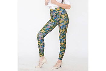 Patterned spandex leggings in yellow floral from AmericanApparel.Net, $20