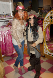 Cameron Candace with her children at the Disney Store Halloween BOOtique