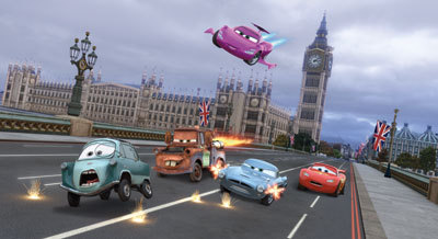 PROFESSOR Z, HOLLEY SHIFTWEEL, FINN, MCMISSILE and LIGHTNING MCQUEEN