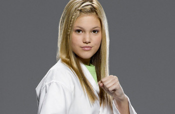 Olivia plays Kim, a girl who can go toe to toe with any other karate kid