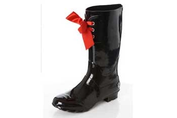Black wellington boot with bow, $40, at Miss Selfridge