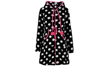 Polka dot hooded fleece robe, $19, at Peacocks.co.uk