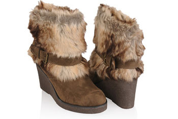 Furry Wedge heel boots, $25.80, at FOREVER 21
